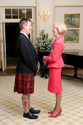 David receives the Order of Australia from the Governor General Quentin Bryce in Canberra 5th October 2011